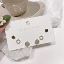 Korean Style Simple Set Earrings Sterling Silver Needle Full Zirconium Inlaid round Studs All-Match Fashion Petite Earrings