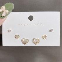 Korean Simple Graceful Set Earrings Sweet Delicate Heart Ear Studs Sterling Silver Needle Opal Earrings