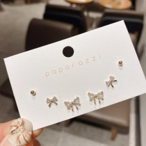 Japanese and Korean Sweet and Small Bow Zircon Earings Set Student Commuter Earrings Female Sterling Silver Needle Earrings