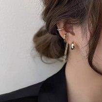INS Internet Celebrity Same Geometric Sterling Silver Needle Ear Ring Tassel Ear Clip Set Cold Style Multi-Wear Earrings