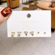 New Japanese and Korean Partysu Ins Style Earrings Wholesale Small Cute Bear Set Earrings Silver Needle Zircon Earrings
