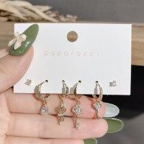 New Gold Plated Set Earrings Vintage Court Style Earrings Temperament Key Earrings Micro Zircon-Encrusted Stud Earrings