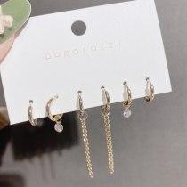 Trendy Metallic Design Sense Cross-Border Sold Jewelry Women's European and American Chain Tassel Earrings