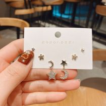 Korean Fashion Earrings Personalized Creative Micro Inlaid Zircon Star and Moon Earrings Graceful Lady Style Set Ear Studs