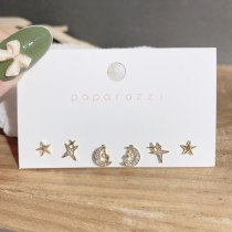 Sterling Silver Needle Gold Plated Set Stud Earrings Simple and Compact Star and Moon Earrings Fashion Student Ear Stud