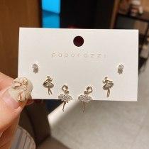 Inlaid Zircon Week Wearing Earrings Ballet Girl Sterling Silver Needle Real Gold Suit Multi-Pair Earrings Female Petite Earrings