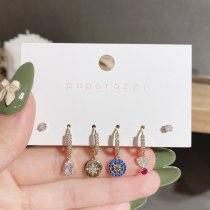 European and American Style Set Earrings Cross-Border Retro Color Zircon Earrings Temperament Wild Hexagram Stud Earrings