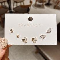 Heart-Shaped Zircon Petite Earrings Women's Three-Petal Flower Multi-Pair Set Ear Studs Sterling Silver Earrings