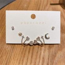 Zircon Set Earrings Star Moon Star Heart Love Heart Earrings Zircon Stud Earrings