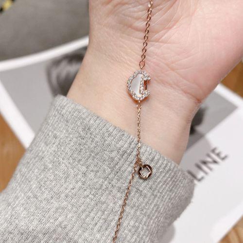 Antique Style Simple Graceful Bracelet New Rose Gold Shell Lock of Good Wishes Titanium Steel Bracelet Palace Style Bracelet