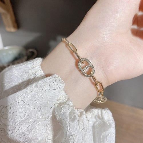 Korean-Style Light Luxury Double-Sided Pig Nose Bracelet Personalized Creative Zircon Shell Bracelet Niche Net Red Bracelet