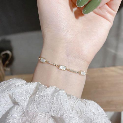 Korean Style New Simple Niche Bracelet Versatile Adjustable Shell Bracelet Zircon Inlaid Bracelet for Women