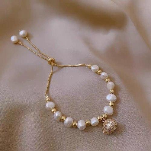 Baroque Freshwater Pearl Pulling Rope Adjustable Bracelet Female Light Luxury Elegant Sea Shell Zircon Bracelet