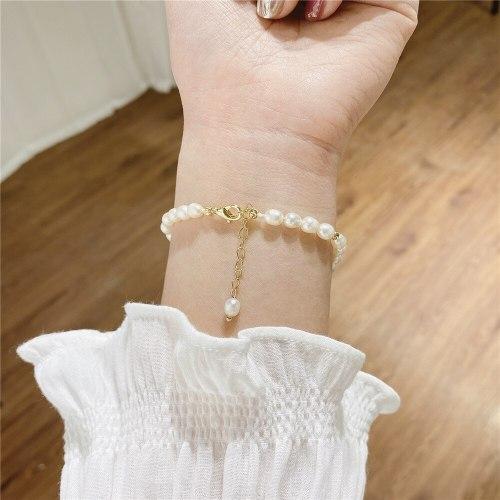 Korean Freshwater Pearl Creative Bracelet Gold Plated Punk Lady Temperamental Bracelet Wholesale