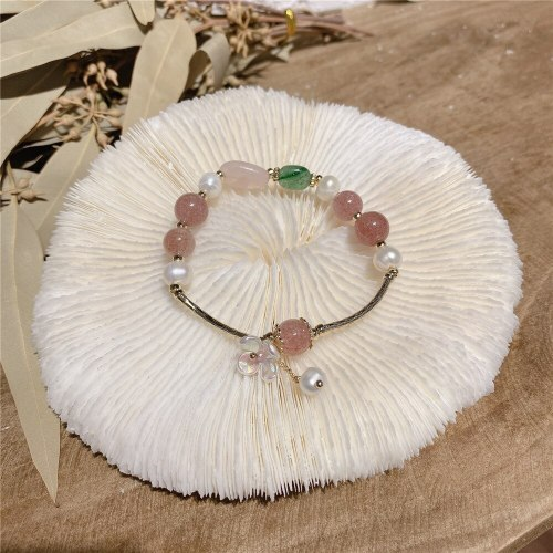 Freshwater Pearl Strawberry Quartz Bracelet Fashion All-Match Simple Gentle Flower Carrying Strap Jewelry Wholesale
