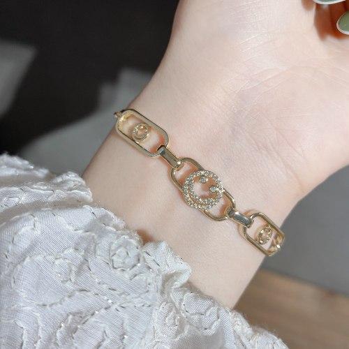 Cross-Border New Arrival Bracelet Women's Light Luxury Design Zircon Smiley Bracelet Creative Drawable Hollow Bracelet