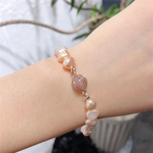 Fashion Pearl Bracelet All-Match Women's Handmade Freshwater Pearl Pendant Personality Carrying Strap Stone Bracelet Wholesale