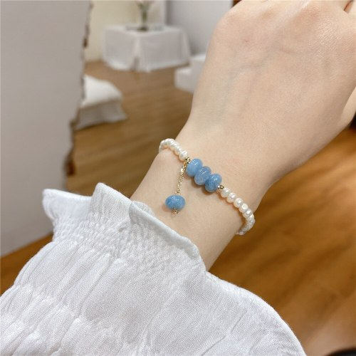Korean Hot Sale Sophisticated Type Pearl Bracelet Elastic Fashion Small Fresh Bracelet Carrying Strap Gold Plated