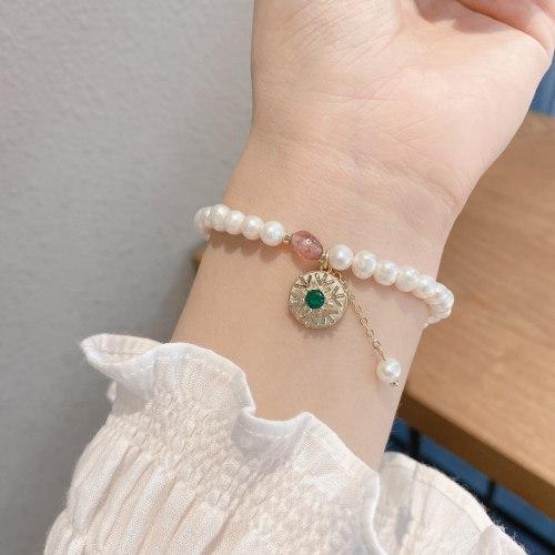Korean Retro Baroque Freshwater Pearl Bracelet Women's Light Luxury Elegant Rotatable Snowflake Natural Stone Bracelet