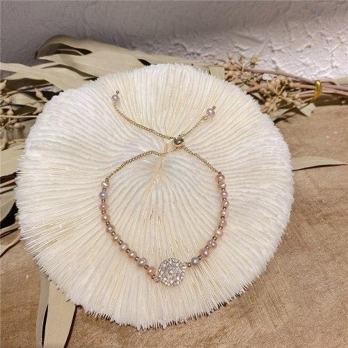 Korean Copper Plated Real Gold Baroque Freshwater Pearl Bracelet Light Luxury Inlaid Zircon Bracelet