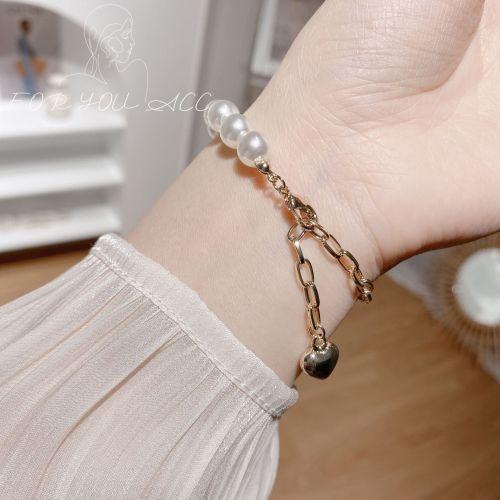 Mix and Match Japanese and Korean Style Brass Bracelet Women's Simple Elegant Heart Tassel Bracelet Retro Net Red Wind Bracelet