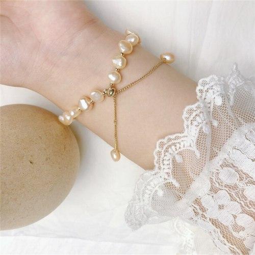 Japanese and Korean Fashion Baroque Freshwater Fashion Handmade Bracelet Wholesale Internet Celebrity Same Fishtail Bracelet