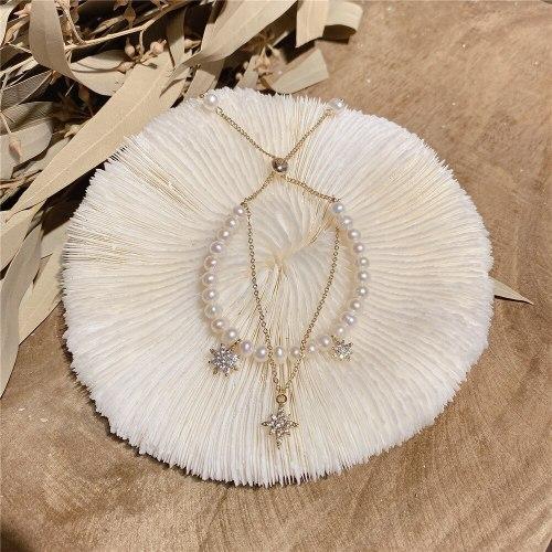 Eight-Pointed Stars Double-Layer Bracelet Female Korean Style Zircon Baroque Freshwater Pearl Light Luxury Bracelet Wrist String