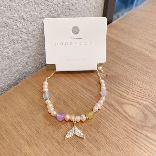 New Korean Retro Fishtail Internet Celebrity Freshwater Pearl Bracelet French Baroque Gold Plated Zircon Pull Carrying Strap