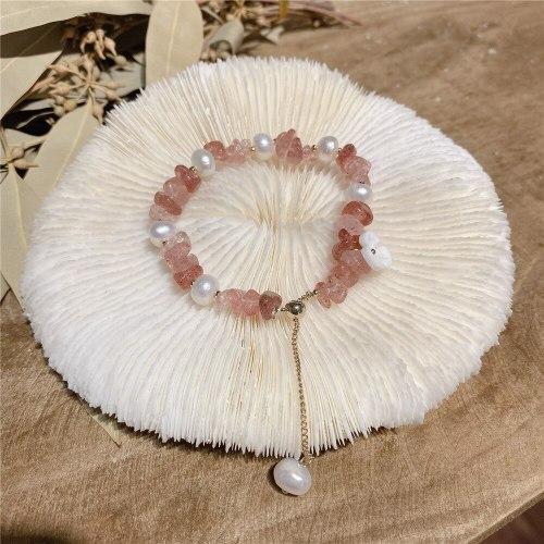 Strawberry Quartz Stone Bracelet Korean Style Internet Celebrity Same Simple Temperament Flower Carrying Strap Jewelry