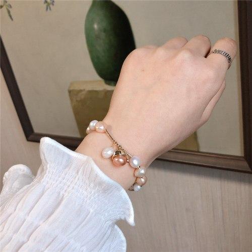 Freshwater Pearl Stretch Handmade Bracelet Cute Cat Bracelet Korean Style Personal Influencer Baroque Bracelet