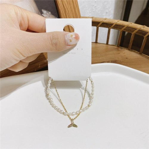 Korean Style Personalized Fishtail Bracelet Baroque Freshwater Pearl Jewelry Carrying Strap Gold-Plated Micro-Inlaid Jewelry