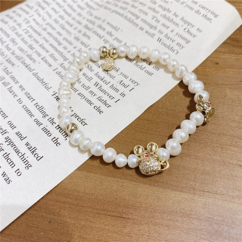 Summer Versatile New Year Mouse Bracelet Korean Style Freshwater Pearl Bracelet Graceful Personality Carrying Strap