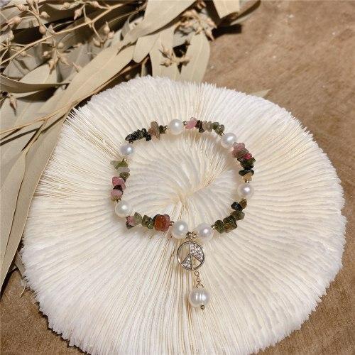 Mori Style New Fashion Broken Crystal Baroque Freshwater Pearl Bracelet Korean Style Personalized Retro Carrying Strap Bracelet