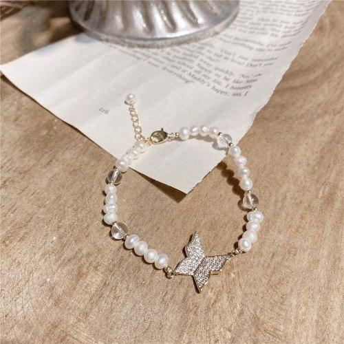 Inlaid Zircon Butterfly Bracelet Korean Retro Temperament Wild Internet Celebrity Freshwater Pearl Bracelet Wrist String