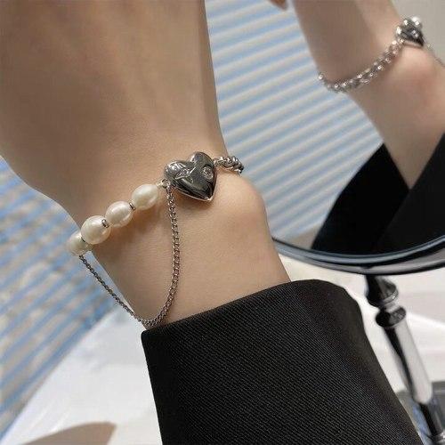Fashion Freshwater Pearl Bracelet Sweet Cool Style Personality Heart-Shaped Multi-Part Bracelet Fashion Net Red Style Bracelet