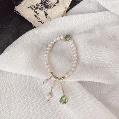Simple and Fresh Natural Baroque Freshwater Pearl Bracelet Vintage Temperament Micro Inlaid Carrying Strap Carrying Strap