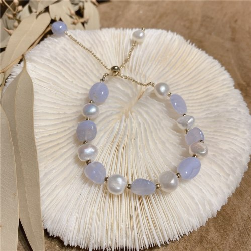 Women's Korean-Style Pearl Stone Hand-Made Bracelet, Fashionable and Elegant Freshwater Pearl Baroque Pull-out Carrying Strap