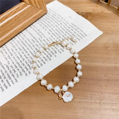 Baroque Freshwater Pearl Bracelet Korean Style Normcore Girl's Heart Luxury Gold Plated Bracelet