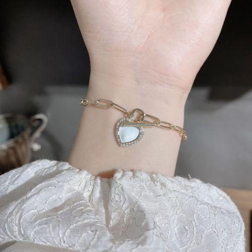 Niche Design Bracelet Vintage Shell Love Buckle Bracelet Simple Temperamental All-Match Brass Bracelet