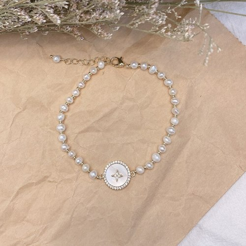 Fresh Sweet Graceful Online Influencer Freshwater Pearl Bracelet Simple Graceful Jewelry All-Match Shell Carrying Strap