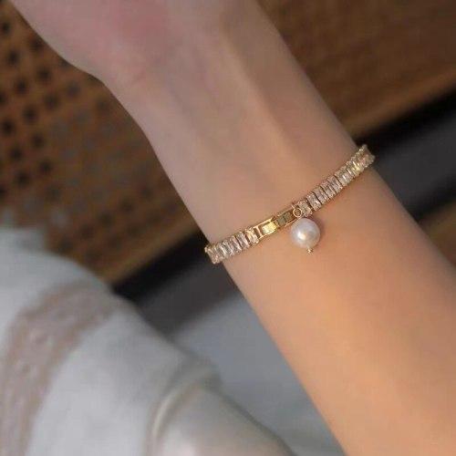 Korean Style Light Luxury Zircon Bracelet Special-Interest Design Freshwater Pearl Pendant Fashion Cross-Border Bracelet