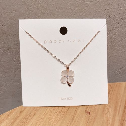 Korean New Rose Gold Necklace Design Opal Flower Pendant Lady Temperamental Clavicle Chain