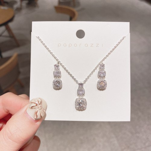 Cross-Border European and American Bride Set Creative All-Match Zircon Plated Real White Gold Necklace Earrings Set Wedding
