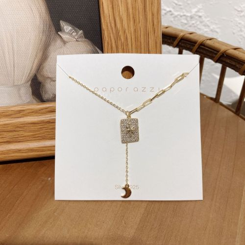 Cold Style Stitching Necklace Niche Micro Inlaid Zircon Square Plate Moon Tassel Pendant Personalized Clavicle Chain