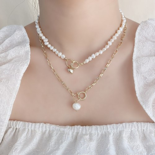 Korean Style Fashionable Simple Double-Layer Freshwater Pearl Necklace Creative Detachable Double-Layer Clavicle Chain