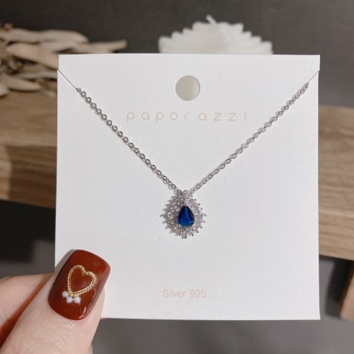 Trendy Banquet Retro Necklace Female Online Influencer Zircon Water Drops Necklace Socialite Court Style Clavicle Chain