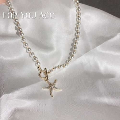 Korean New Necklace Personalized Designer Model Zircon Starfish Pendant Vintage Necklace Clavicle Chain