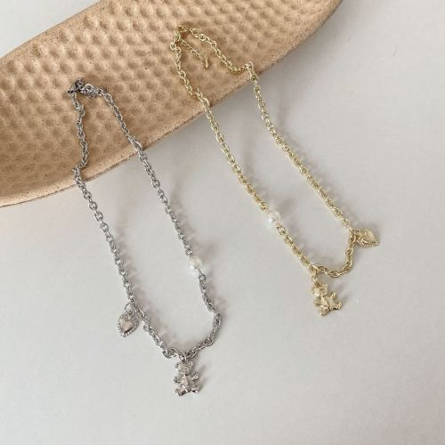 Hot Sale Necklace Trendy Metallic Brass Necklace Temperament Lovely Bear Clavicle Chain Neck Chain