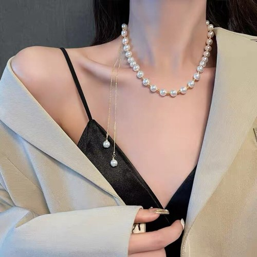 Fashion Multi-Wear Long Tassel Pull Sweater Chain Brass Gold Plated Exaggerated Necklace Personality Simple Clavicle Chain