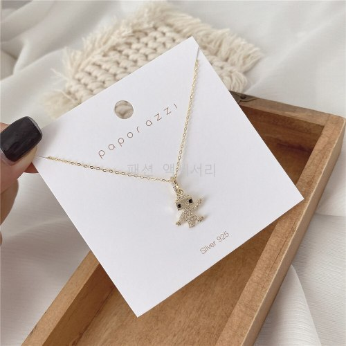 Design Creative Personality Robot Zircon Necklace Gold-Plated Cross-Border New Clavicle Chain Female Necklace Fashion